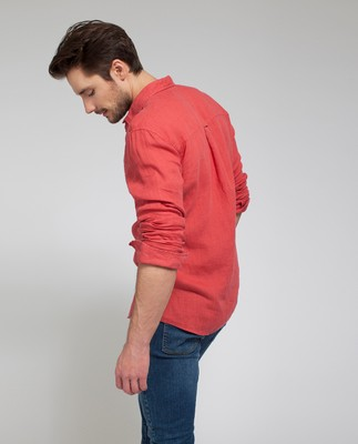 Ryan Linen Shirt, Pompeian Red