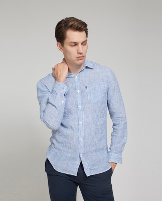 Ryan Linen Shirt, Blue/White