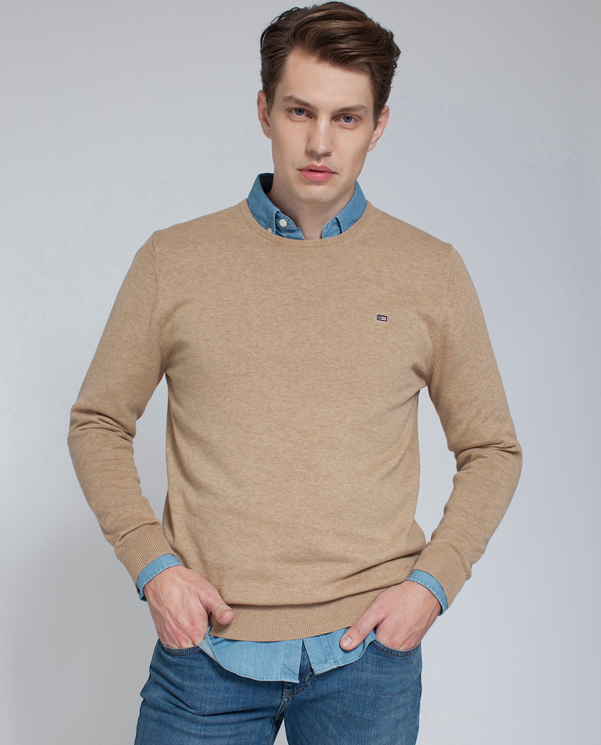 Bradley Crewneck Sweater, Warm Sand