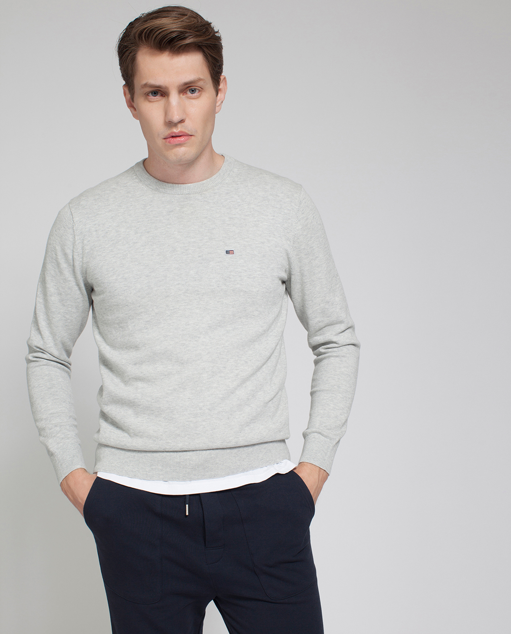 Bradley Crewneck Sweater, Light Warm Gray