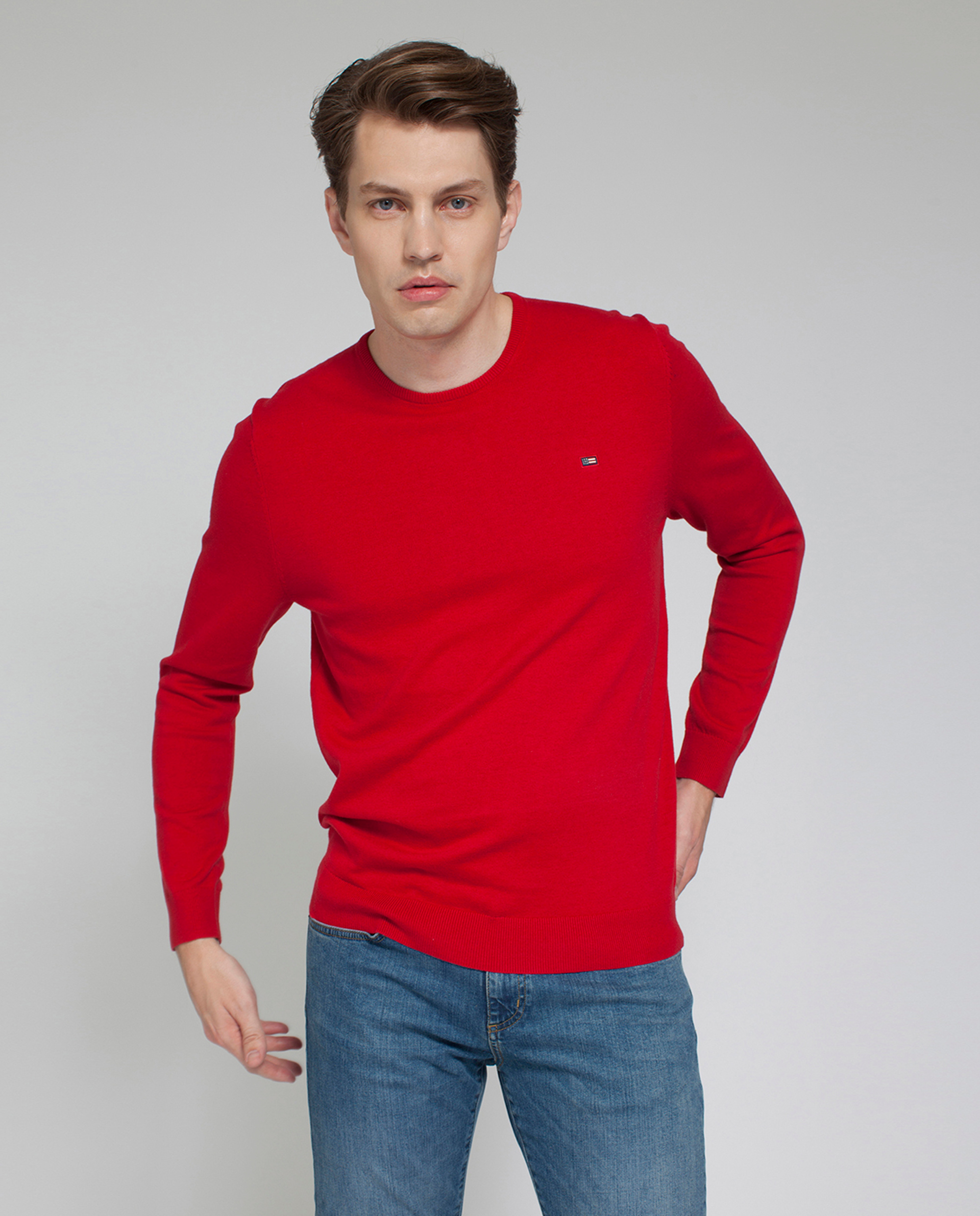 Bradley Crewneck Sweater, Chili Pepper Red