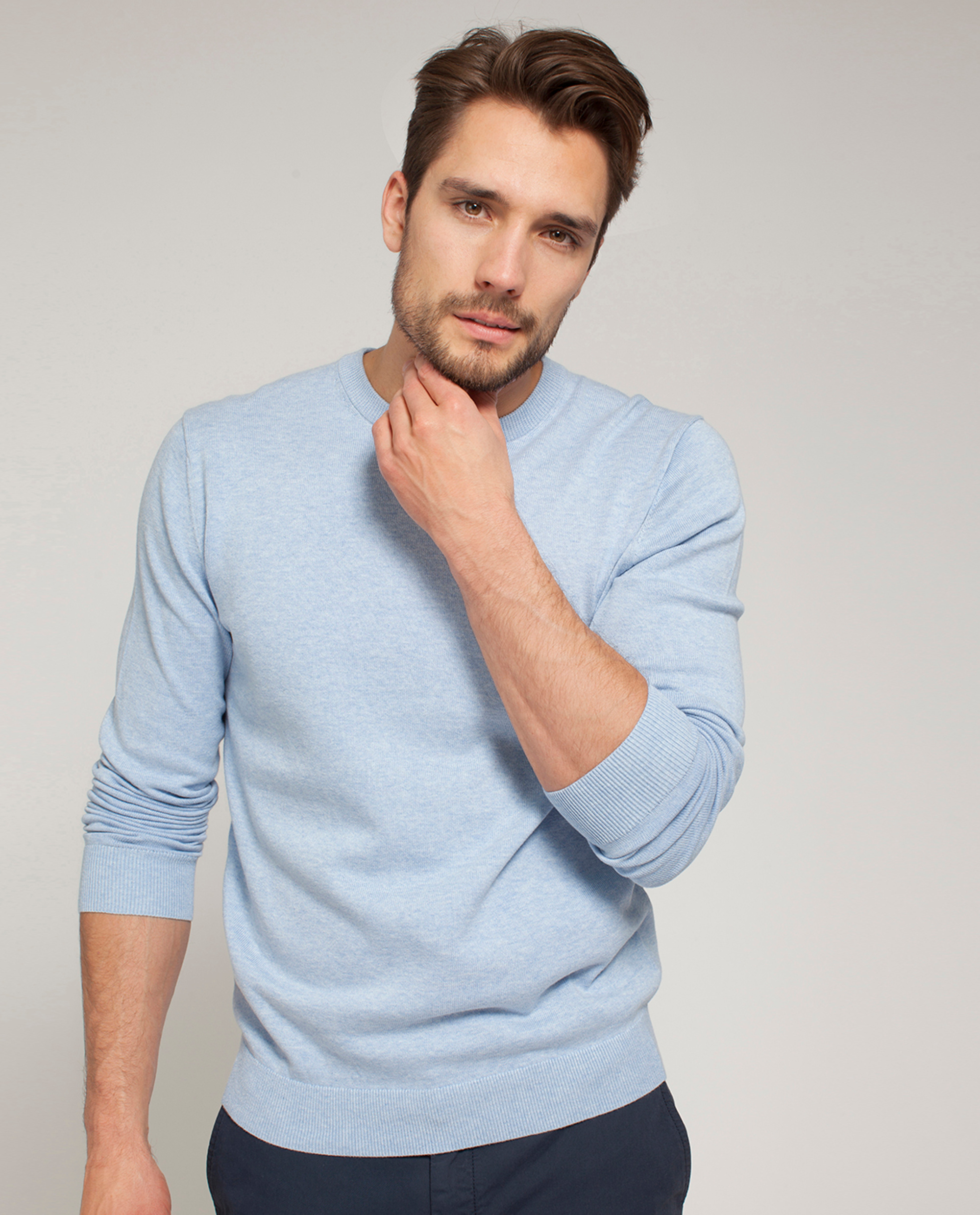 Bradley Crewneck Sweater, Light Blue