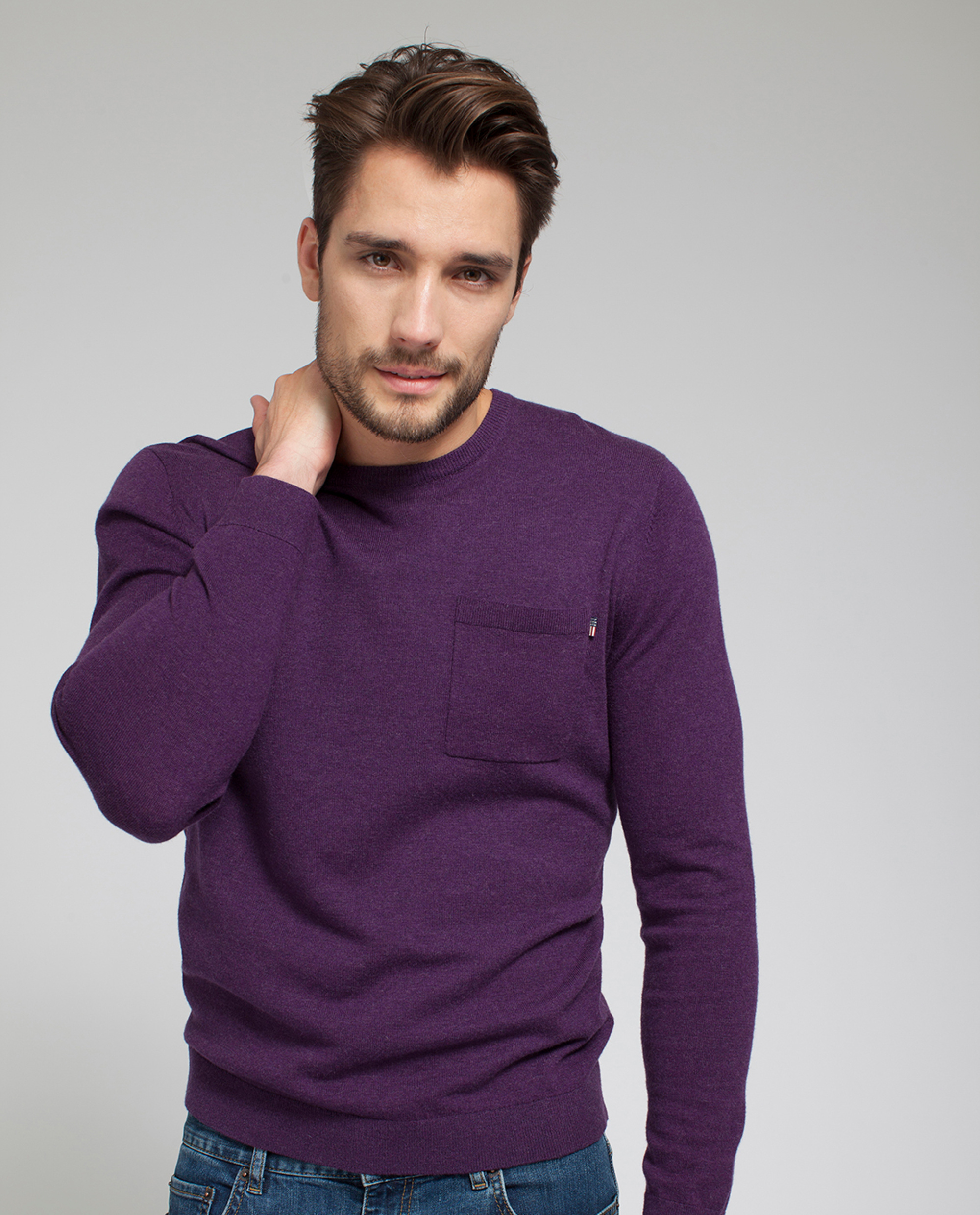 Jeff Crewneck Sweater, Purple