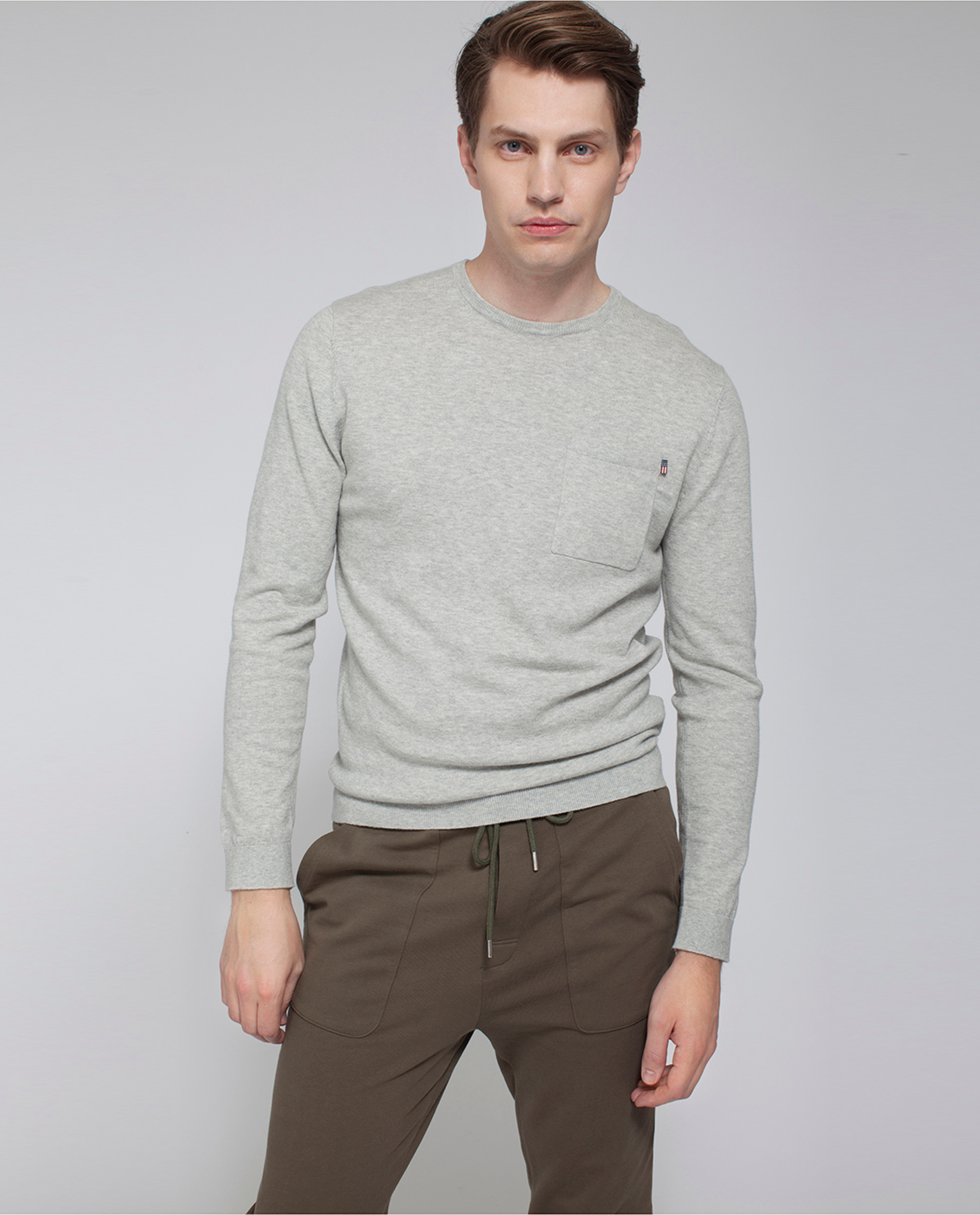 Jeff Crewneck Sweater, Light Warm Gray