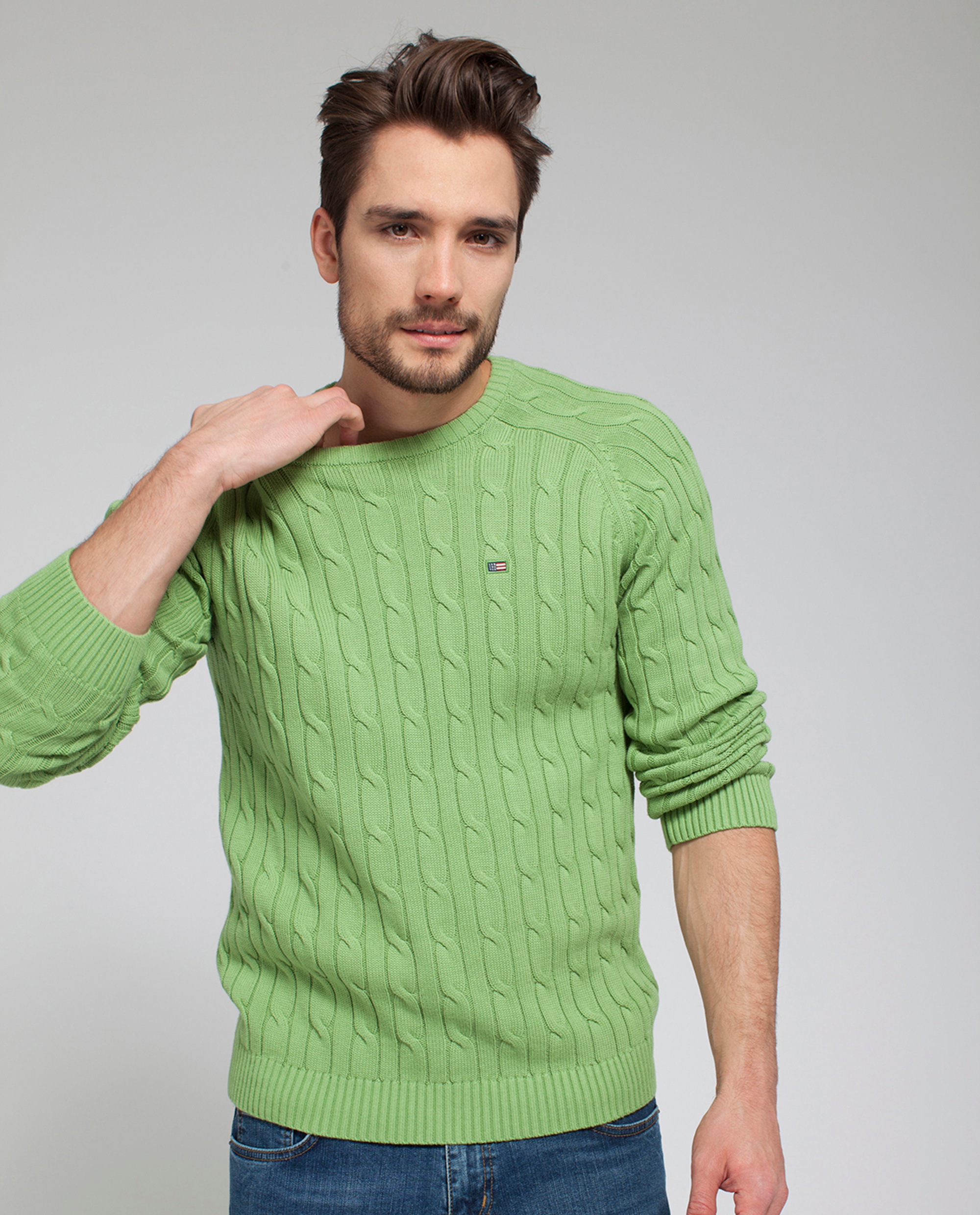 Andrew Cotton Cable Sweater, Piquant Green