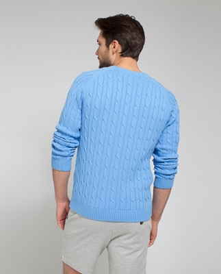 Andrew Cotton Cable Sweater, Marina Blue