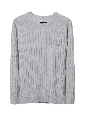 Andrew Cotton Cable Sweater, Light Gray