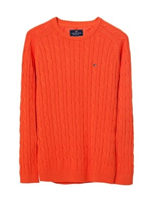 Andrew Cotton Cable Sweater, Koi Orange