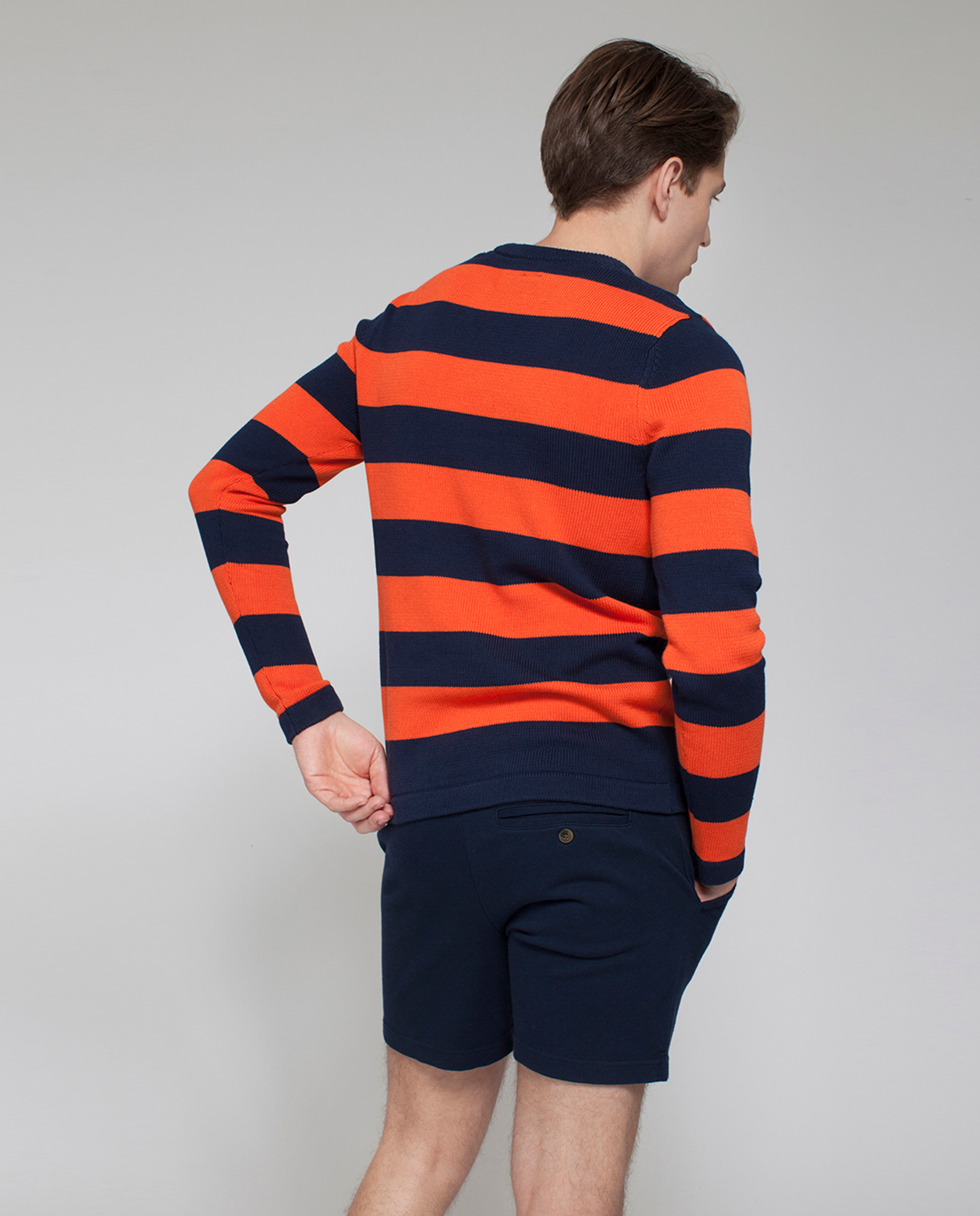 Lincoln Striped Sweater, Orange/Blue