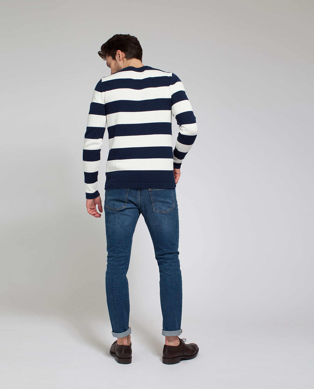 Lincoln Striped Sweater, Blue(White