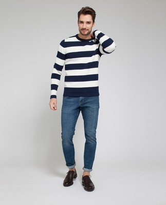 Lincoln Striped Sweater, Blue(White