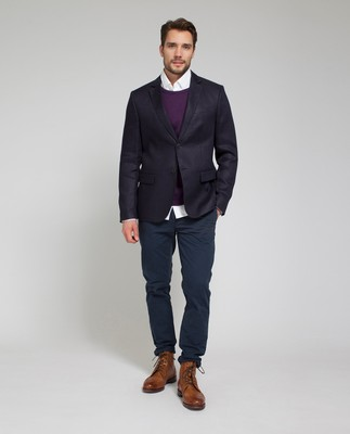 Jason Linen Jacket, Deep Marine Blue