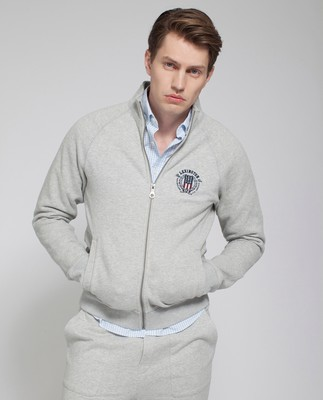 Christian Zip Cardigan, Light Warm Gray