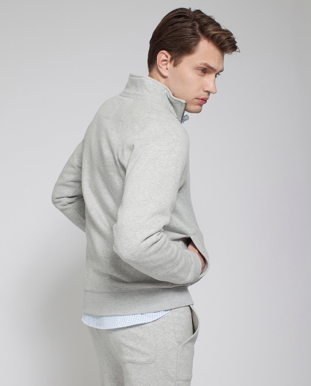 Christian Zip Cardigan, Light Warm Gray