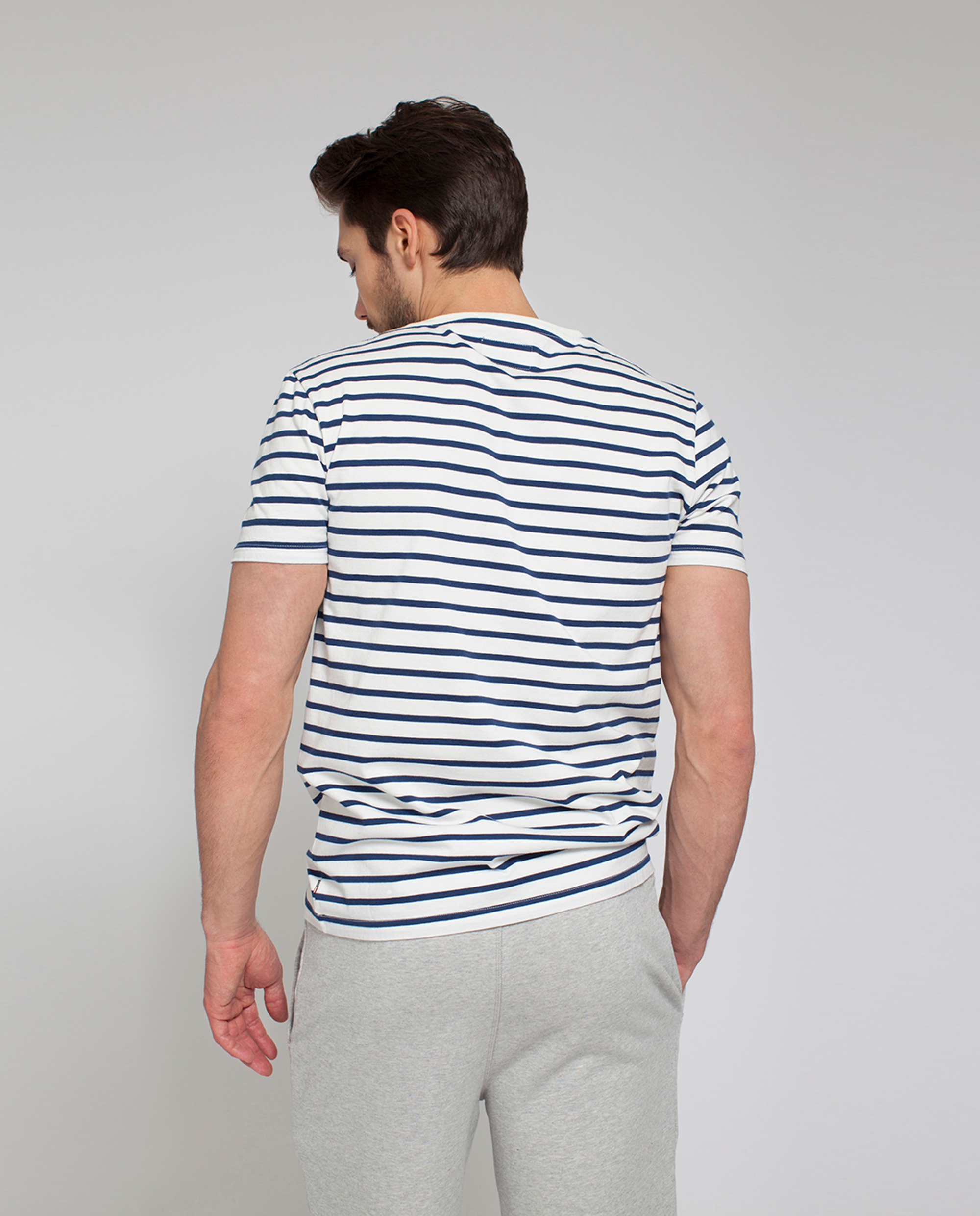 Mick Striped Tee, White/Blue