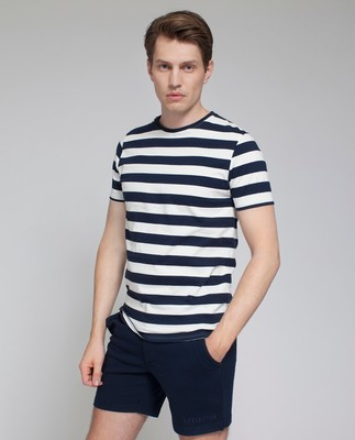 Mick Striped Tee, Dark Blue/White