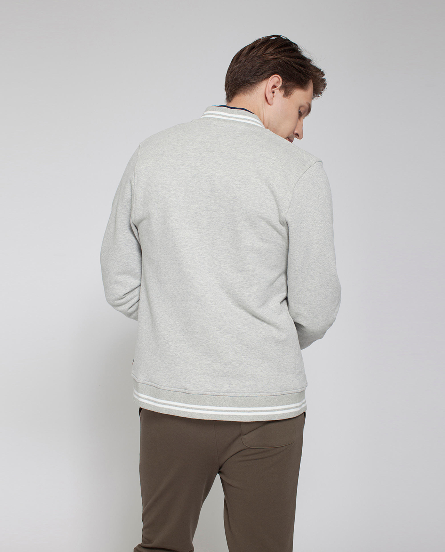 Jamie Baseball Sweater, Light Gray