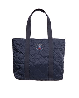 Kinner Quilted Tote, Deep Marine Blue