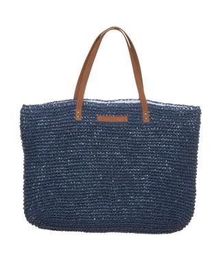 Riverside Paper Straw Bag, Deepest Blue