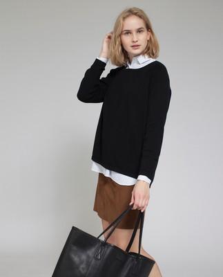 Mayflower Leather Tote Bag, Caviar Black