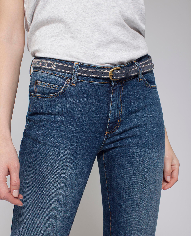 Georgica Embroidered Leather Belt, Ultra Marine