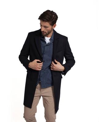 Larry Navy Wool Overcoat