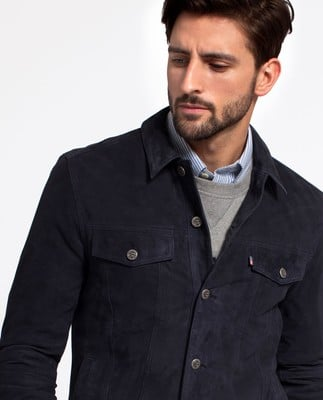 Jared Suede Jacket, Deep Marine Blue