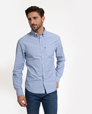 Taylor Poplin Shirt, Blue/White