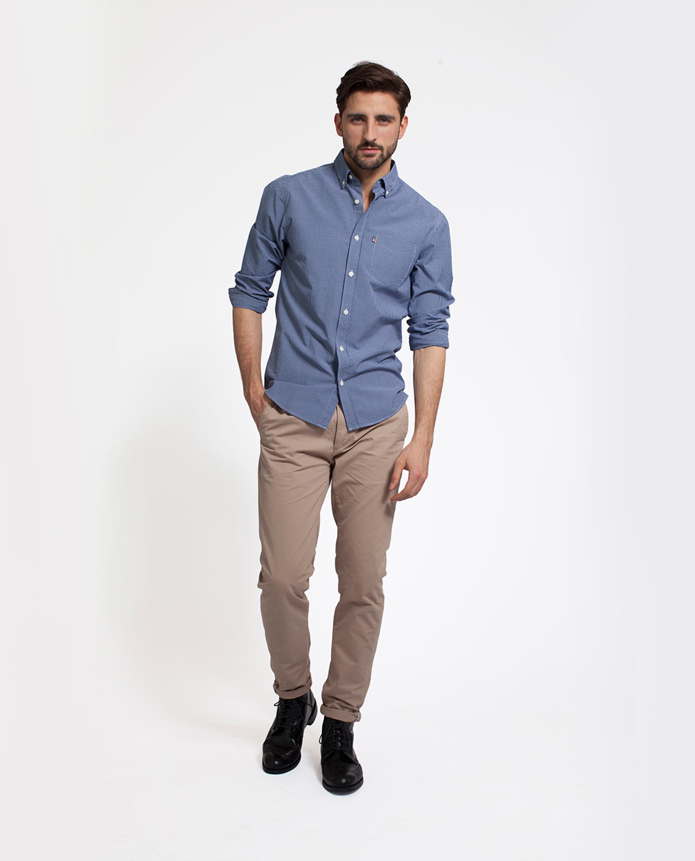 Taylor Poplin Shirt, Blue/White