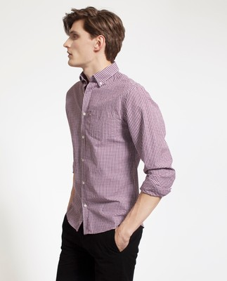 Taylor Poplin Shirt, Dark Red/White