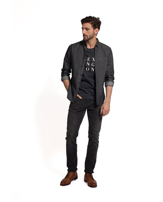 Clive Denim Shirt, Gray