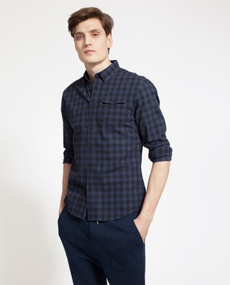 Aaron Checked Shirt, Blue/Black