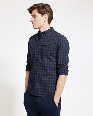 Aaron Checked Shirt, Blue/Black