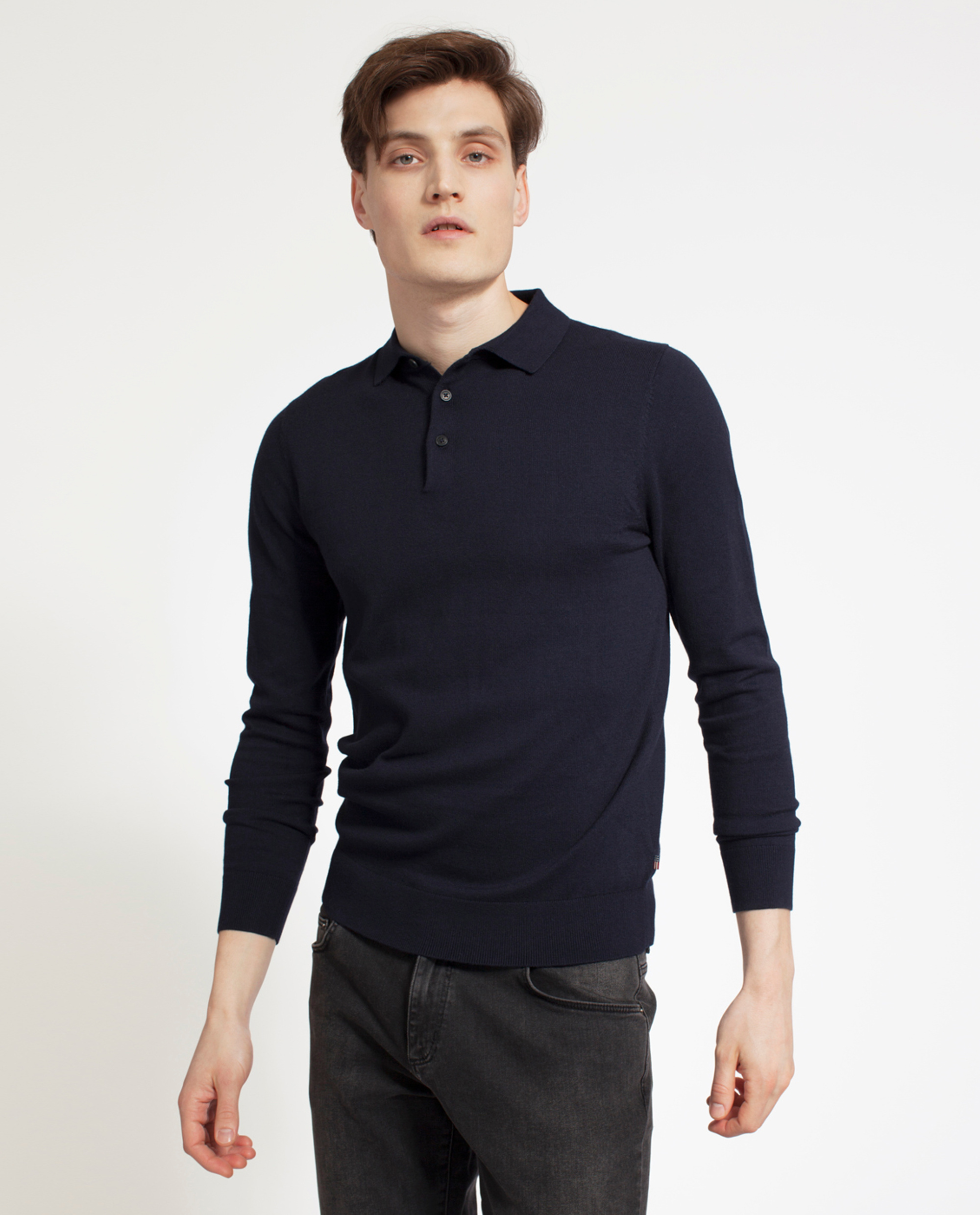 Riley Knitted Cotton/Cashmere Rugger, Deep Marine Blue