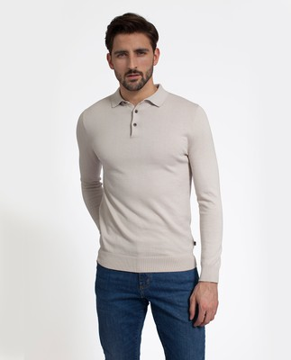 Riley Knitted Rugger, Ivory
