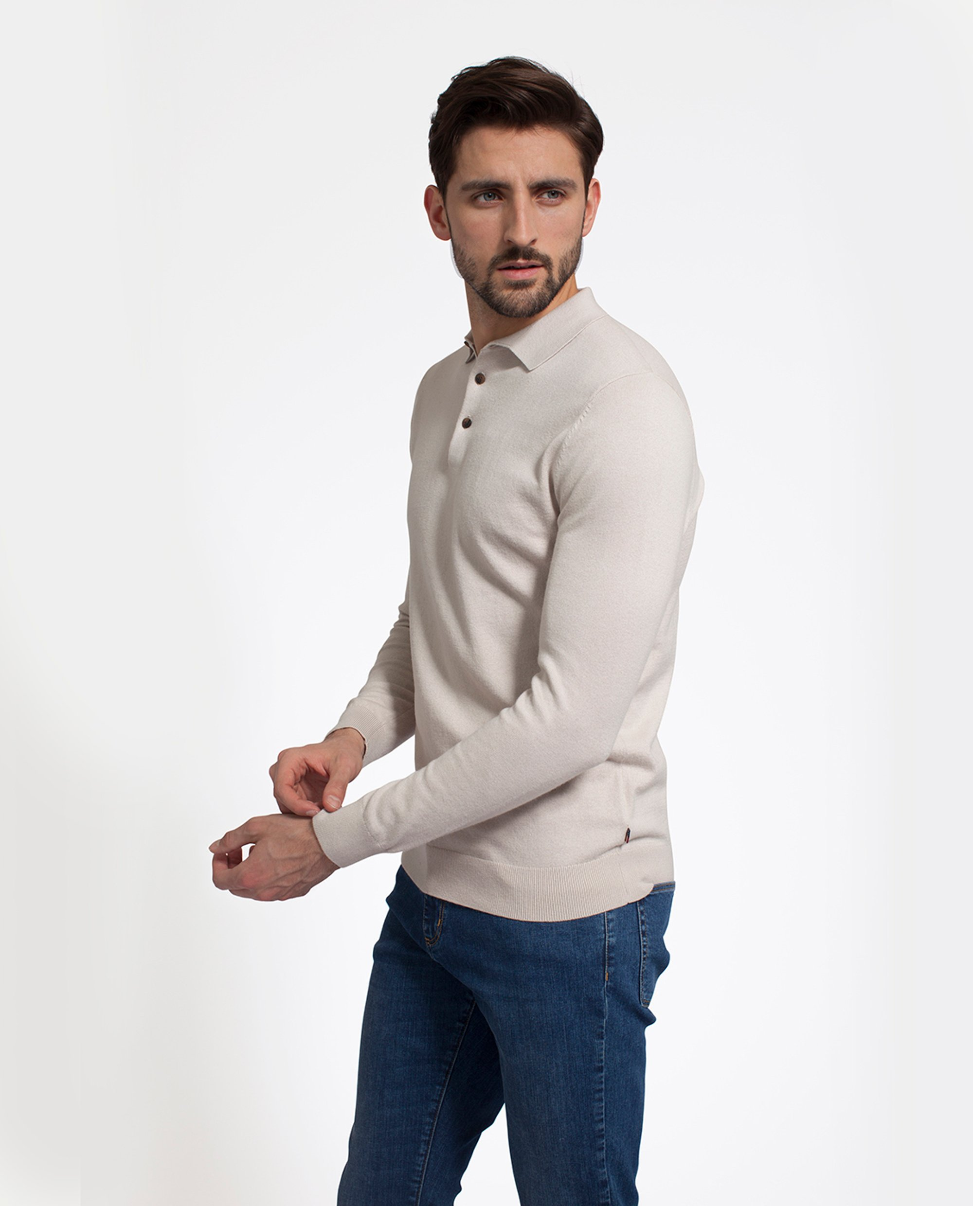 Riley Knitted Cotton/Cashmere Rugger, Ivory