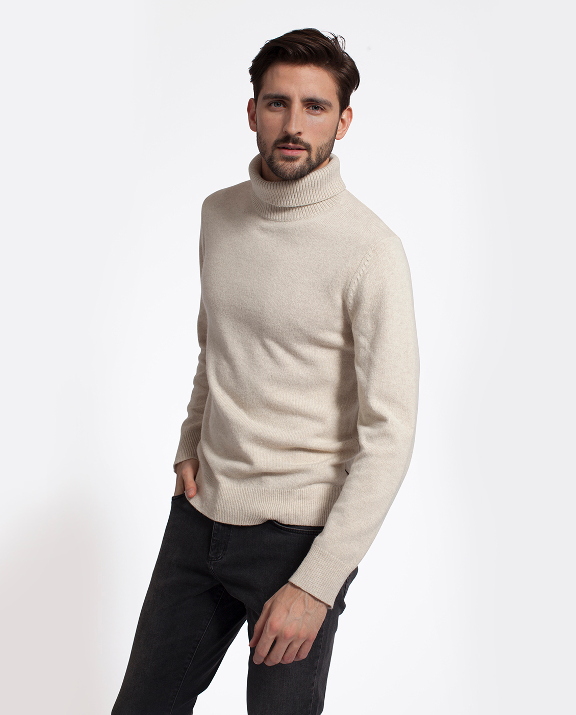 Kent Rollneck Sweater, Feather Gray