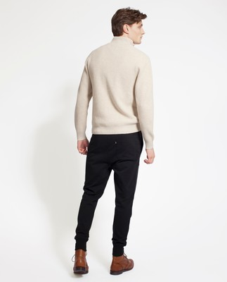 Vinnie Knitted Zip Sweater, Feather Gray