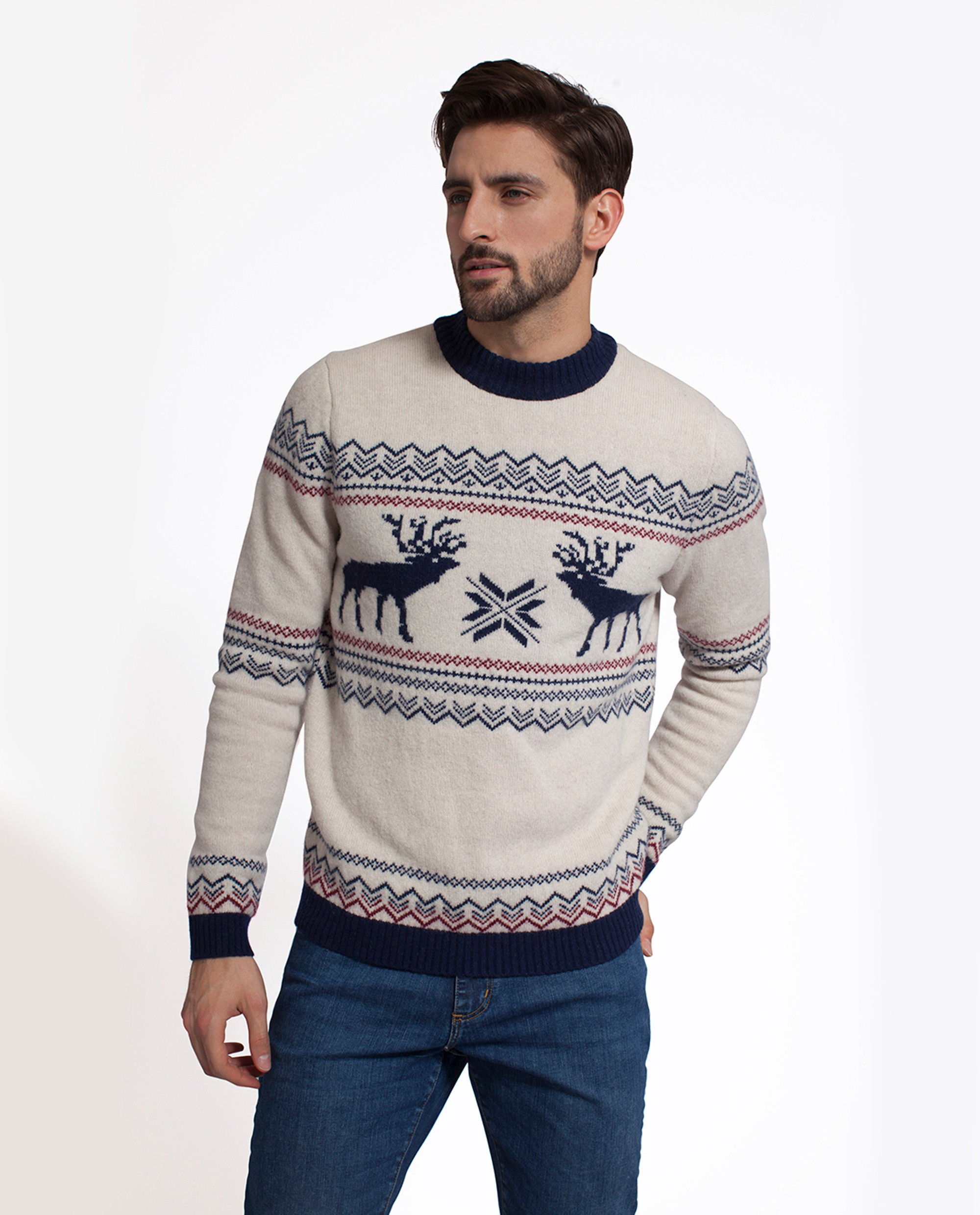 Jim Holiday Sweater, Shell White