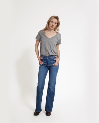 Becka V-neck Tee, Heather Gray