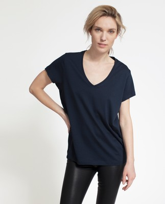Becka V-neck Tee, Deep Marine Blue