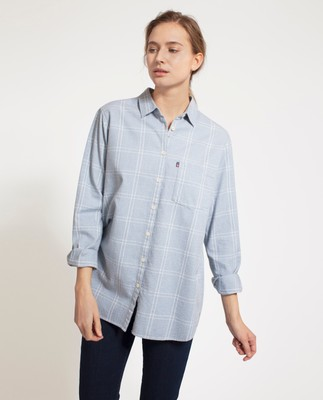 Isa Flannel Shirt, Blue/White