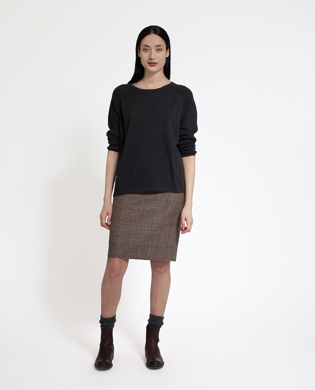 Lea Cotton/Cashmere Sweater, Dark Gray