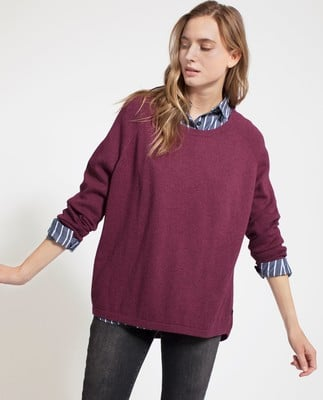 Lea Cotton/Cashmere Sweater, Rosewood Red