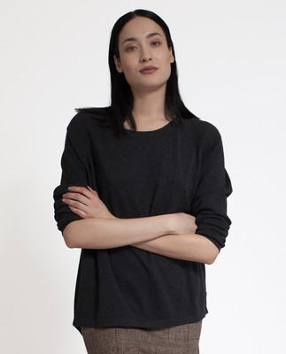 Lea Cotton/Cashmere Sweater, Dark Gray
