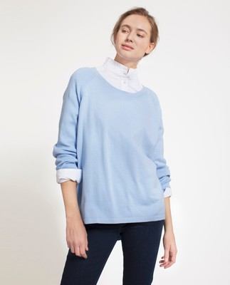 Lea Cotton/Cashmere Sweater, Bel Air Blue