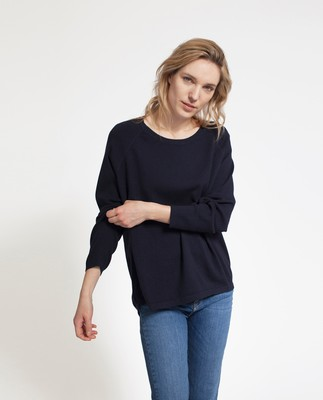 Lea Cotton/Cashmere Sweater, Deep Marine Blue