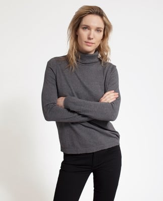 Francoise Roll Neck Sweater, Heather Gray