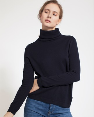 Francoise Roll Neck Sweater, Deep Marine Blue