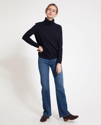 Francoise Roll Neck Sweater, Deep Marine Blue